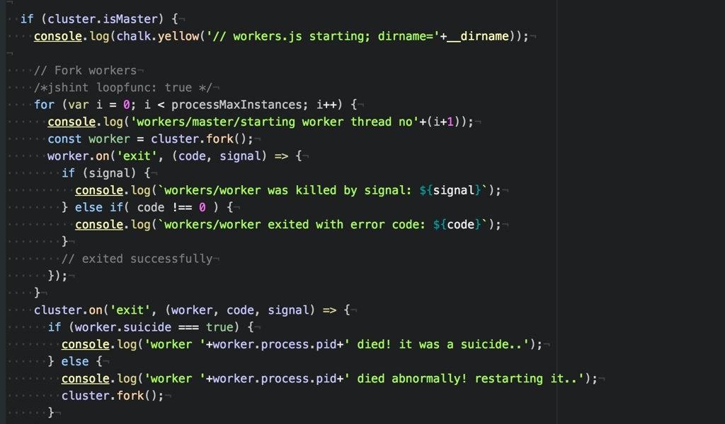 Node.js code example